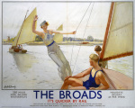 The Broads - Girl Waving from Boat art print