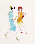 Two Female Fashion Figures, c.1960 giclee art print