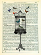 Bird Cage and Butterflies giclee art print