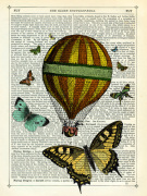 Butterflies and Balloon giclee art print