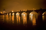 Charles Bridge at night Prague 2006 giclee art print