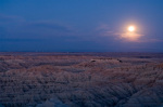 Landscape under moonlight, Badlands National Park, South Dakota, USA giclee art print