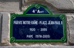 Paris Notre-Dame - Place Jean-Paul II sign, Ile de la Cite, Paris, France giclee art print
