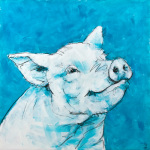Pig on Blue giclee art print