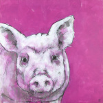 Pig on Pink giclee art print