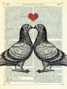 Pigeons in Love giclee art print