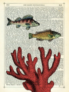 Two Fish with Coral giclee art print
