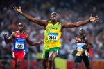 Usain Bolt takes Olympic gold Beijing 2008 giclee art print