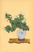 White Chrysanthemum in Sometsuke Round Vase giclee art print