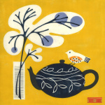 Yellow Bird on Teapot giclee art print