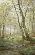 A Woodland Scene with Deer, 1895 giclee art print
