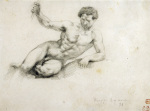 Reclining Male Nude, after Thevelin, 1854 giclee art print