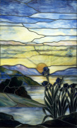 Stained Glass Window with Iris and Sunset, c.1900 giclee art print