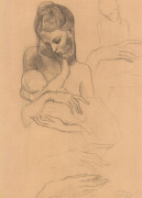 Mother and Child and Four Sketches of the Right Hand art print
