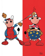 Spiderman & Supercow art print