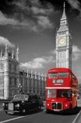London - Bus and Taxi art print