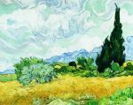 A Cornfield with Cypresses art print