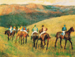 Racehorses in a landscape art print