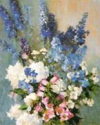Larkspur, Peonies and Canterbury Bells art print