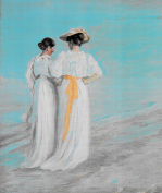 Two ladies on the beach art print