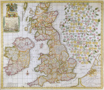 A New Map of England Scotland and Ireland 1680 art print