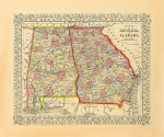 County Map of Georgia and Alabama art print