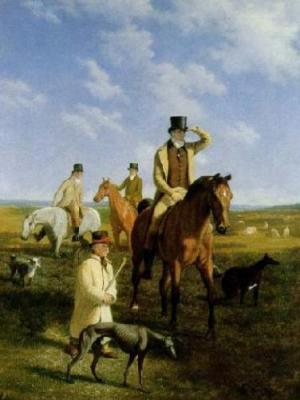Portrait Of Lord Rivers Coursing at Newmarket With His Friends