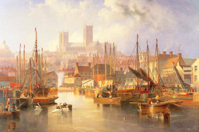 The Brayford Pool and Lincoln Cathedral by James Wilson Carmichael ...