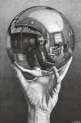 'Mano con Esfera Reflejante', litografía de M.C.Esher (1935)