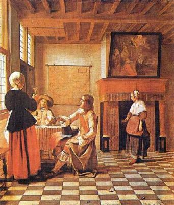 by Pieter de Hooch · Interior With People