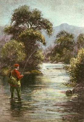 Playing the Trout (Restrike Etching)
