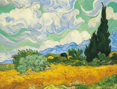 A Cornfield with Cypresses