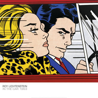 in the car print by roy lichtenstein. Black Bedroom Furniture Sets. Home Design Ideas