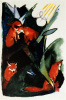 Four Foxes,  Postcard for Wassily Kandinsky by Franz Marc